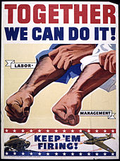 A propaganda poster from 1942 encouraging unity between labor and management of GM